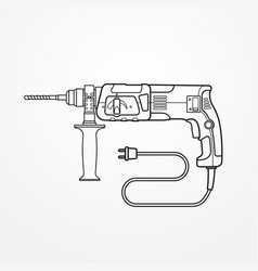 electric drill rotary hammer outline image vector image