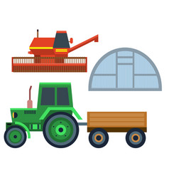 farm harvesting tractor equipment vector image