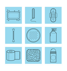 feminine hygiene set of flat objects or vector image