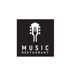 Fork guitar live music cafe bar restaurant logo vector