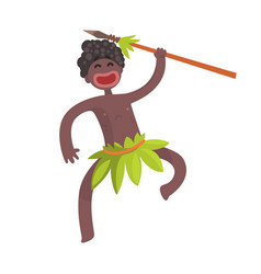 Funny black skinned aboriginal warrior with weapon vector