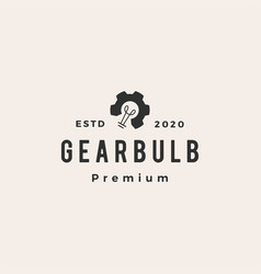gear bulb hipster vintage logo icon vector image