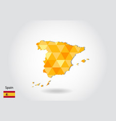 geometric polygonal style map of spain low poly vector image