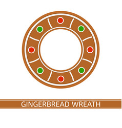 Gingerbread christmas wreath vector
