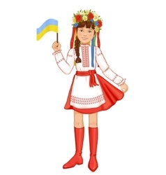 Girl in ukrainian traditional clothes with flag vector
