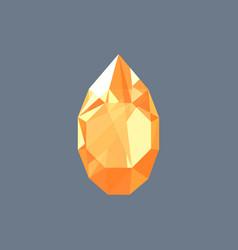 Golden topaz gem shining logo drop shaped vector