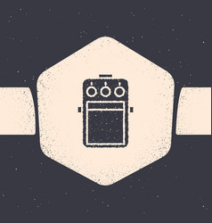 Grunge guitar pedal icon isolated on grey vector