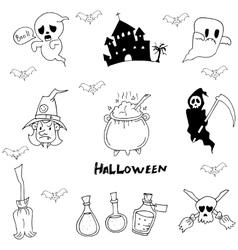 Halloween character warlock witch doodle vector