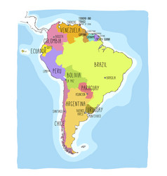 hand drawn map of south america vector image