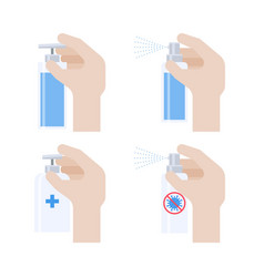 Hand with spray bottle or sanitizer icon set vector
