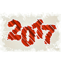 happy new year design red grunge paint brush vector image