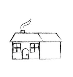 house home residence architecture chimney smoke vector image