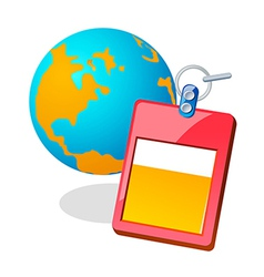 Icon globe and id card vector