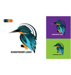 Kingfisher logo template design mockup vector