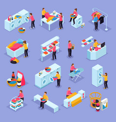 laundry isometric icons vector image
