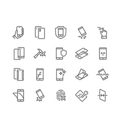 line smartphone protection icons vector image
