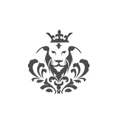 Lion and a crown logo template vector