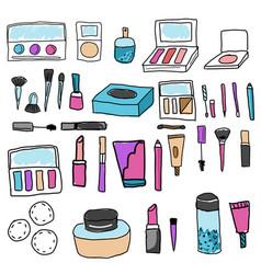 Make up set tools and cosmetic eyeshadows vector