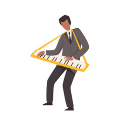 man playing keyboard male jazz musician character vector image