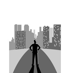 man stading on the street looking at the vector image