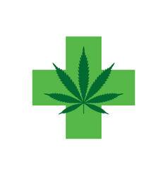 Marijuana leaf with green cross medical cannabis vector