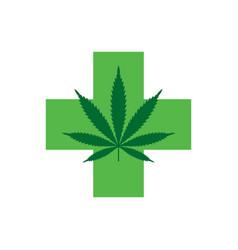 Marijuana leaf with green cross medical cannabis vector