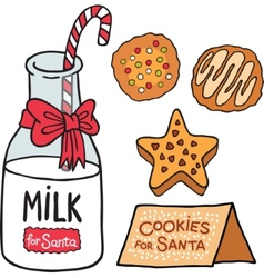 Milk cookies for Santa Claus vector image