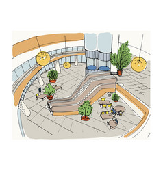 Modern interior shopping center mall top view vector