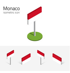 Monaco flag set of 3d isometric icons vector