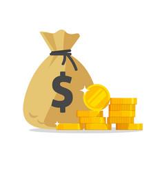 Money bag or cash sack near coins stack icon vector