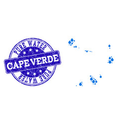 Mosaic map of cape verde islands with water dews vector