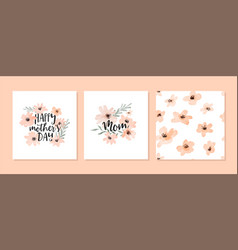 mothers day watercolor flower pattern card set vector image