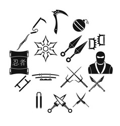 ninja tools icons set simple style vector image