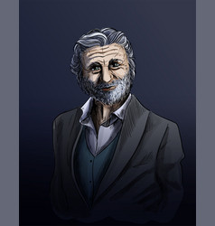 old man sketch elegant man dressed in suite vector image