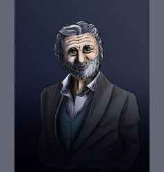 old man sketch elegant man dressed in suite vector image