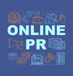 Online pr word concepts banner public relations vector