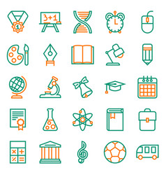 Outline icon collection school education vector