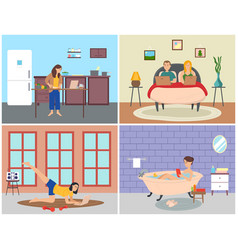 people surf internet while staying at home vector image