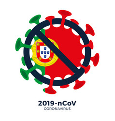 portugal flag sign caution coronavirus stop vector image