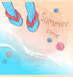 postcard print beach summer party with a hat vector image