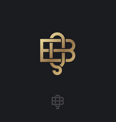 q and b letters monogram consist of inwrought gold vector image