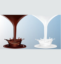 realistic chocolate and milk flow with splash vector image