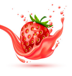 realistic red strawberry juice splash vector image