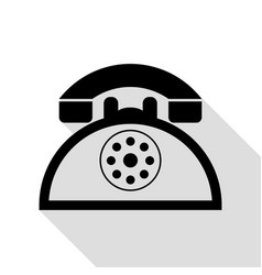 retro telephone sign black icon with flat style vector image