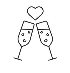 romantic date linear icon vector image