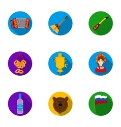Russia country set icons in flat style Big vector