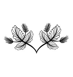 Rustic branch flowers decoration vector