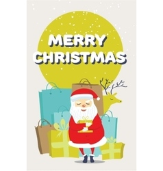 Santa Claus with a gift bags and a deer vector image