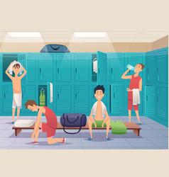 School locker room sport gym locker with kids in vector