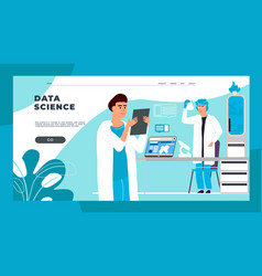 science landing page cartoon scientists and vector image
